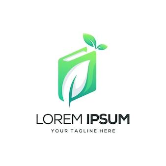 Design de logotipo de folha de livro