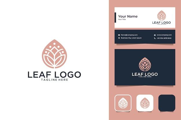 Design de logotipo de folha de luxo e cartão de visita