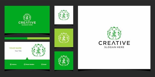 Design de logotipo de folha de mão com modelo de cartão de visita