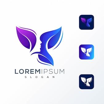 Design de logotipo de folha de mulher colorida