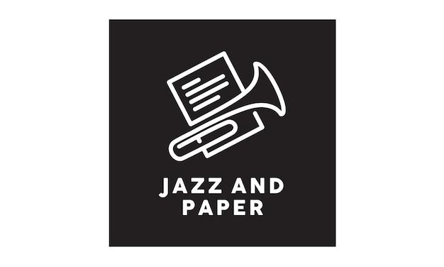 Design de logotipo de folha de música jazz