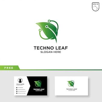 Design de logotipo de folha de natureza e modelo de cartão