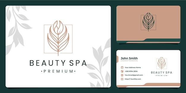 Design de logotipo de folha de salão de beleza e cartão de visita