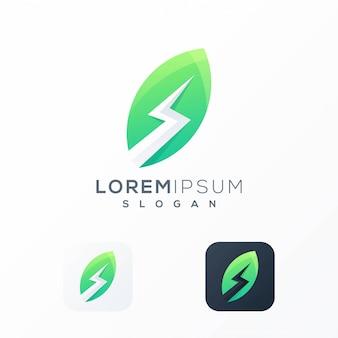 Design de logotipo de folha de trovão pronto para uso