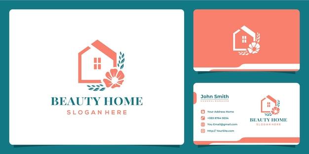 Design de logotipo de folha e flor para casa de beleza com modelo de cartão de visita