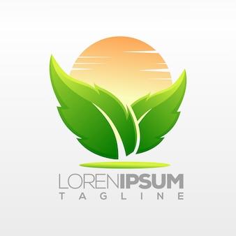 Design de logotipo de folha, ilustração, modelo