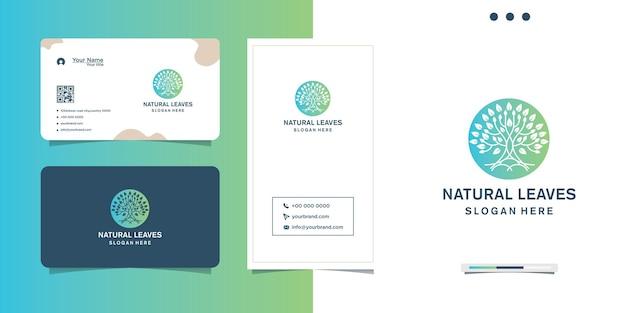 Design de logotipo de folha natural de cor gradiente e cartão de visita