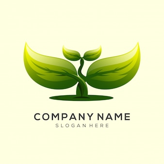Design de logotipo de folha pronto para usar o vetor premium
