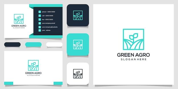 Design de logotipo de folha verde da agro natureza e cartão de visita