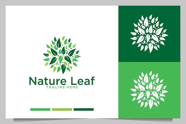 Design de logotipo de folha verde da natureza