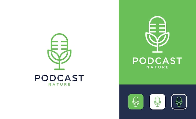 Design de logotipo de folha verde de podcast