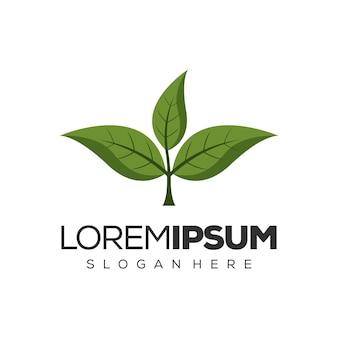 Design de logotipo de folha verde