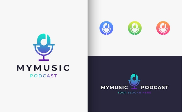 Design de logotipo de fones de ouvido de música podcast