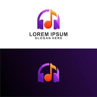Design de logotipo de fones de ouvido musicais