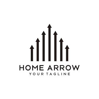 Design de logotipo de forma de finanças residenciais de seta para casa criativa