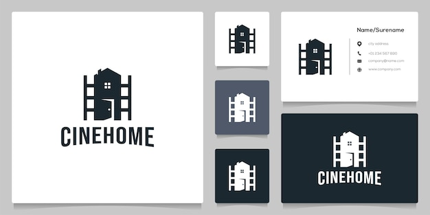 Design de logotipo de fotografia imobiliária roll cinema com cartão de visita