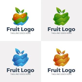 Design de logotipo de fruta moderna com cor de opção.