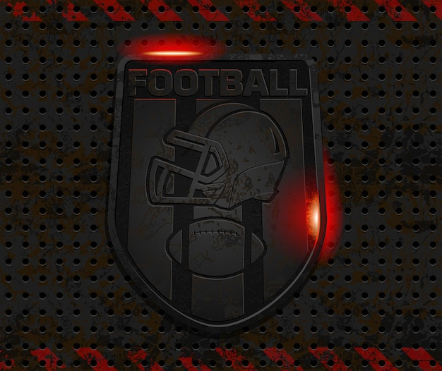 Design de logotipo de futebol de ferro enferrujado