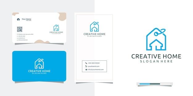 Design de logotipo de gancho para casa simples e cartão de visita