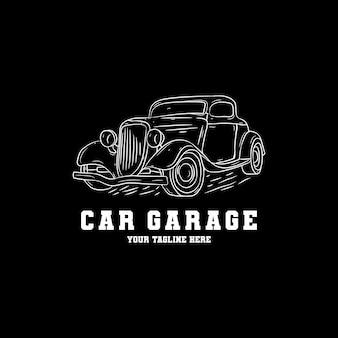 Design de logotipo de garagem de carro desenhado de mão