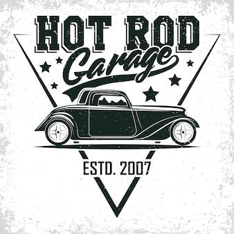 Design de logotipo de garagem de hot rod, emblema de organização de serviços e reparo de muscle car, carimbos de impressão retrô de garagem de carro, emblema de tipografia de hot rod