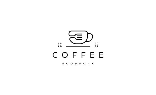 Design de logotipo de garfo de café para comida