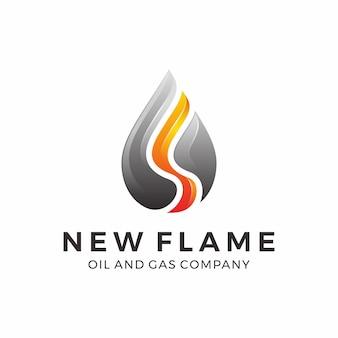 Design de logotipo de gás e óleo com chama