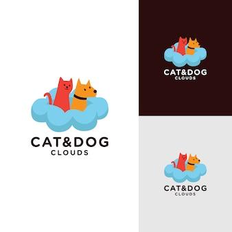 Design de logotipo de gato e cachorro