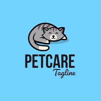Design de logotipo de gato fofo dormindo para pet shop