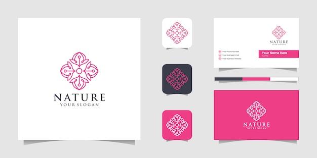 Design de logotipo de geometria de beleza, pode ser usado para inspirações de salão de beleza, spa, ioga e moda e cartões de visita