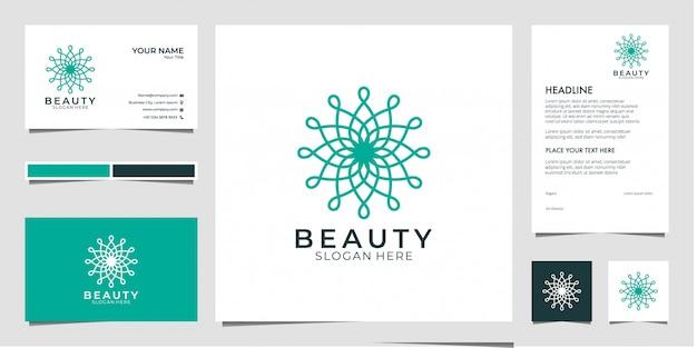 Design de logotipo de geometria de beleza, pode usar para salão de beleza, spa, yoga e moda