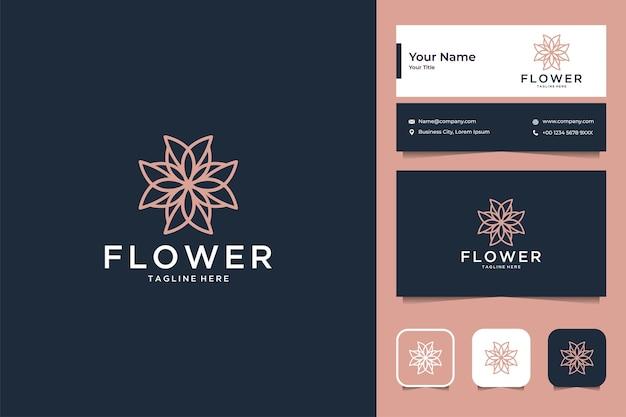 Design de logotipo de geometria de flores de luxo e cartão de visita Vetor Premium