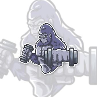 Design de logotipo de ginásio de gorila
