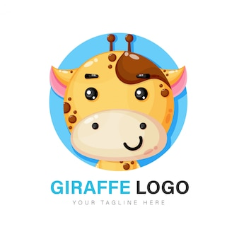 Design de logotipo de girafa fofa