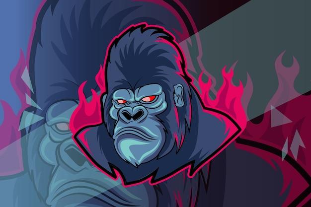 Design de logotipo de gorila maluco e mascote esportivo em um conceito moderno de ilustração