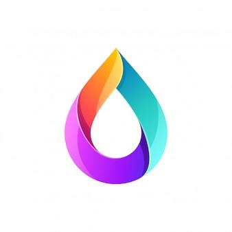 Design de logotipo de gota de água em cores