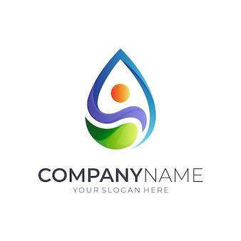 Design de logotipo de gota de água humana +