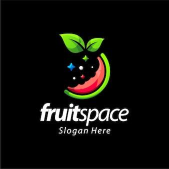 Design de logotipo de gradiente de espaço de frutas