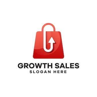 Design de logotipo de gradiente de vendas de crescimento