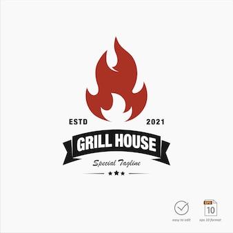 Design de logotipo de grelha vintage com elemento de chama