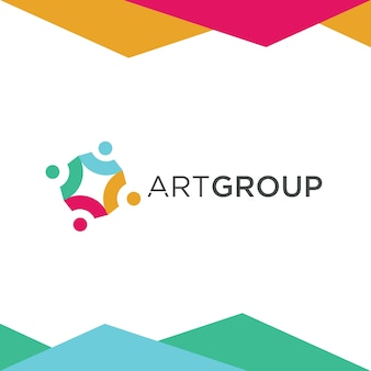 Design de logotipo de grupo de arte colorida