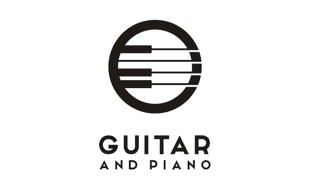 Design de logotipo de guitarra piano