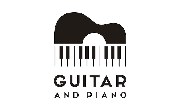 Design de logotipo de guitarra piano