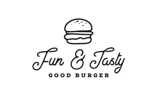 Design de logotipo de hambúrguer com estilo de desenho de arte linha hipster
