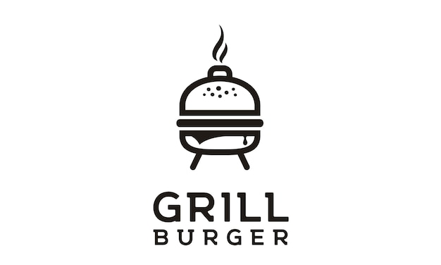 Design de logotipo de hambúrguer grelhado