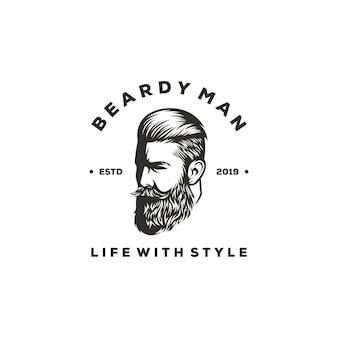 Design de logotipo de homem barbudo