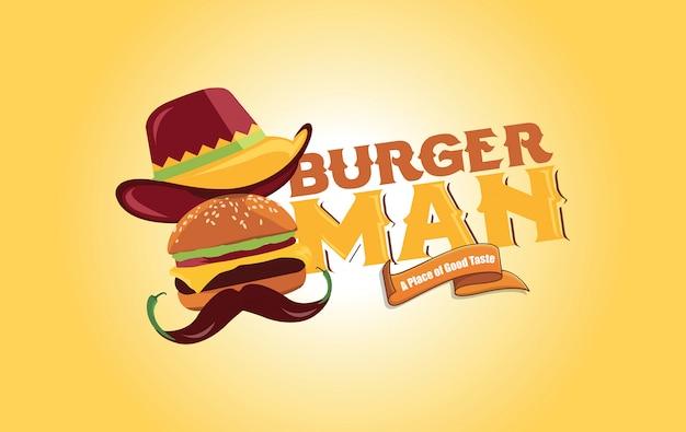 Design de logotipo de homem de hambúrguer