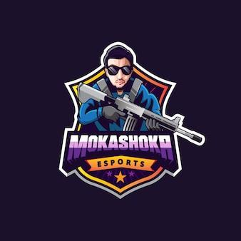 Design de logotipo de homem para jogos
