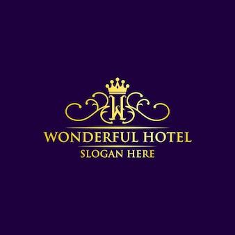 Design de logotipo de hotel maravilhoso para premium
