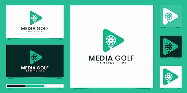 Design de logotipo de ícone de mídia de golfe